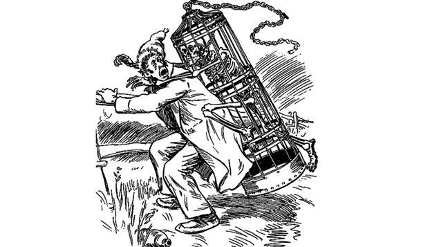 François Dubé aux prises avec « La Corriveau ». Illustration d'Henri Julien (1852-1908) pour une édition de Les Anciens Canadiens de Philippe Aubert de Gaspé.
