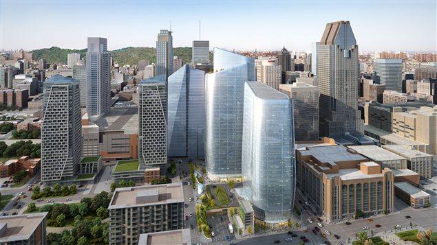 Sept nouveaux difices au centre ville de montr al le 15 for Bureau acces montreal
