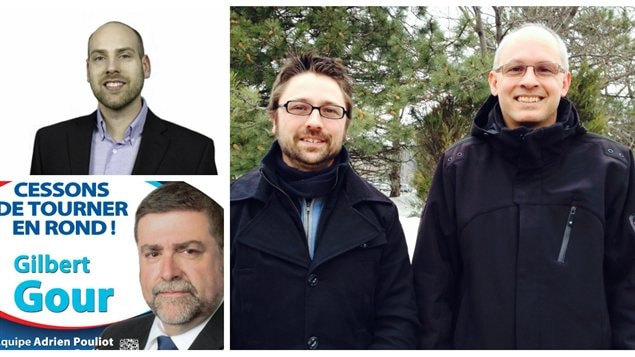 Mathieu Coulombe (Option nationale), Gilbert Gour (Équipe Adrien Pouliot Parti conservateur du Québec), Julien Leclerc et Yves de Repentigny (Parti équitable)