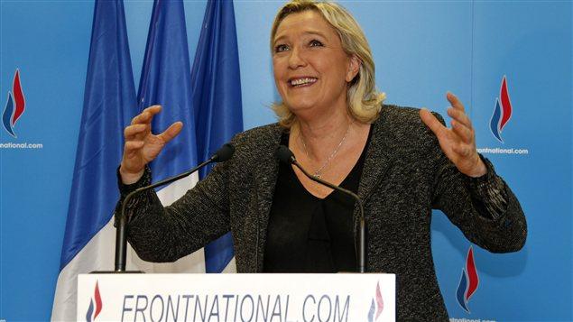 Marine Le Pen, chef du parti d'extrême droite Front national, qui a réalisé une importante percée dans plusieurs villes.