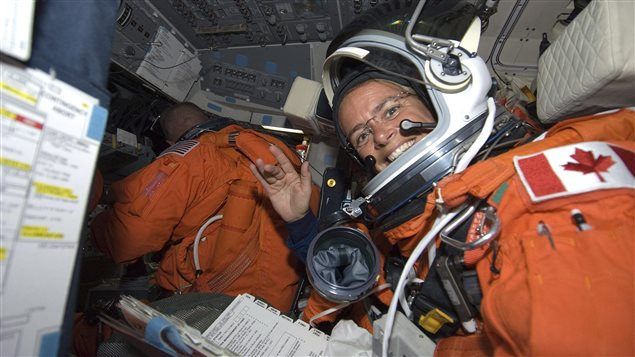Julie Payette en el transbordador Endeavour, en 2009.