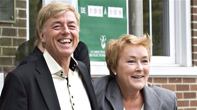 Pauline Marois et son mari, Claude Blanchet, lors de l'élection du 4 septembre 2012.