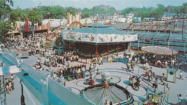 Vielle carte postale illustrant le parc Belmont de Cartierville (1923-1983), sur l'île de Montréal.
