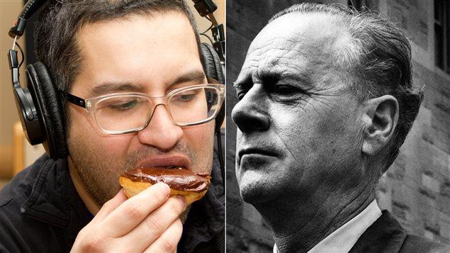Le chroniqueur et auteur Alain Farah, à gauche, mange un beigne en citant Pierre-Karl Péladeau pour illustrer la citation de Marshall McLuhan, à droite.
