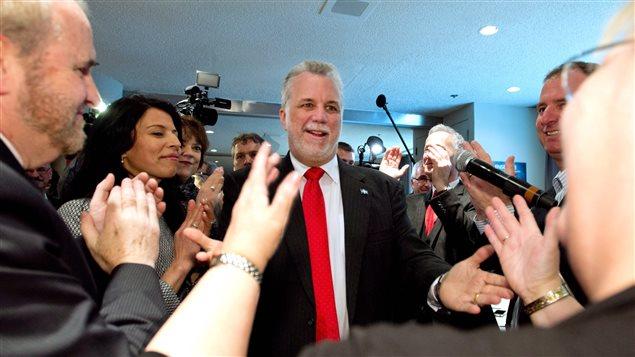 Philippe Couillard à son arrivée au caucus libéral mercredi.