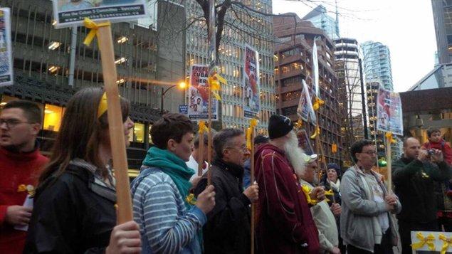 Manifestación del Comité de Vancouver por la liberación de los Cinco frente al Consulado de Estados Unidos en Vancouver.