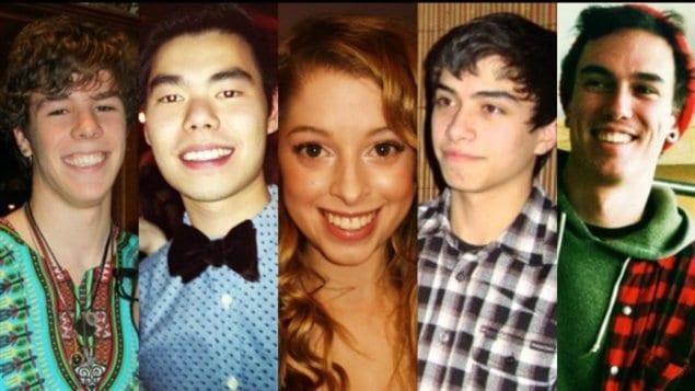 Les cinq victime mardi de la tuerie près de l'Université de Calgary : Zackariah Rathwell, Lawrence Hong, Kaitlin Perras ,Jordan Segura, Joshua Hunter.