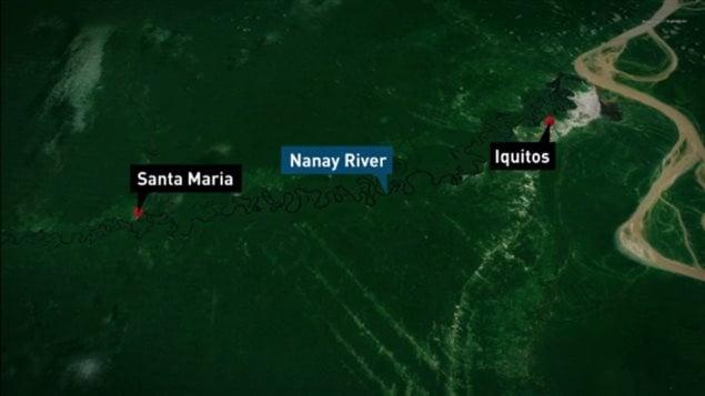 Carte montrant l'emplacement des villes d'Iquitos et de Santa Maria, toutes deux situées le long de la rivière Nanay, dans la forêt amazonienne du Pérou.