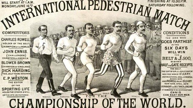 Affiche d'une compétition de marche dans les années 1770.