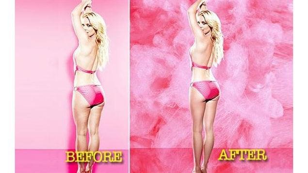 Un montage photo avant et après de Britney Spears