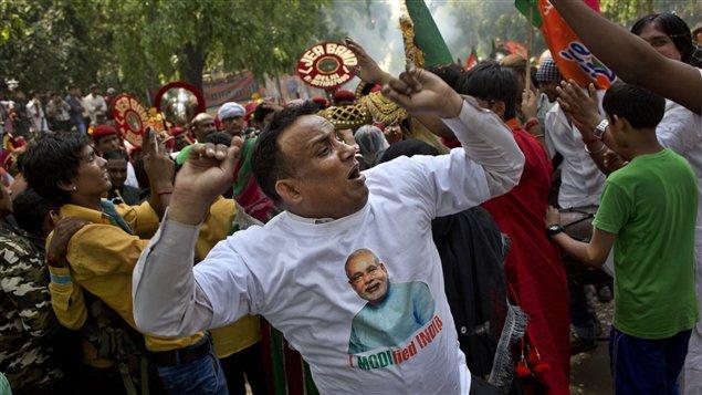 Un partisan du nouveau premier ministre indien, Narendra Modi.