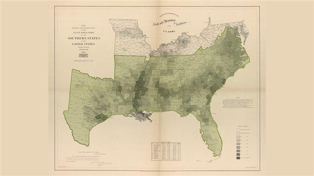 Carte thématique, publiée en 1861, qui dépeint le pourcentage de la population asservie dans le sud des États-Unis.