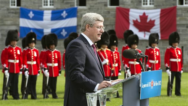 Le premier ministre Stephen Harper au Fort Lennox le 14 septembre 2012 lors des commémorations de la guerre de 1812 contre les États-Unis.