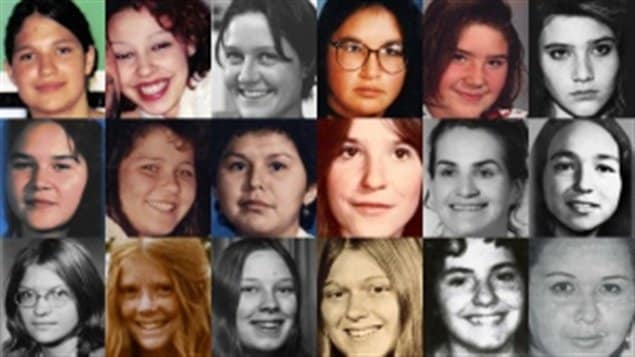 These are images of 18 women and girls either found dead or last seen on roadways dubbed the Highway of Tears in the western province of British Columbia.