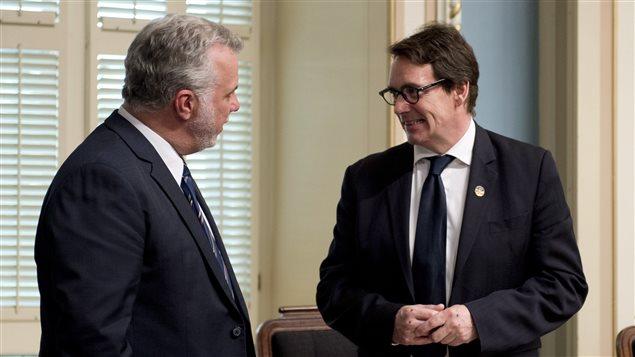 Le premier ministre Philippe Couillard et le député péquiste Pierre Karl Péladeau
