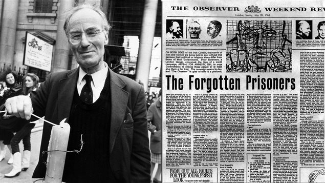 Peter Benenson, fondateur d'Amnistie internationale et l'article <em>The forgotten prisoners</em>, publié dans <em>The Observer</em>, le 28 mai 1961.