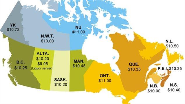 Mapa de salario mínimo por provincias y territorios