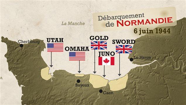 Débarquement de Normandie. Le Canada y débarque à JUNO avec 10 % de tous les effectifs militaires.
