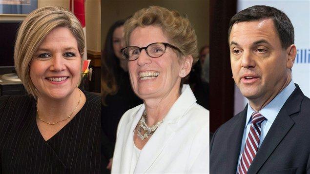 Les chefs des principaux partis politique de l'Ontario: Andrea Horwath, chef du NPD, Kathleen Wynne, chef du Parti Libéral et Tim Hudak, le chef du Parti Conservateur.