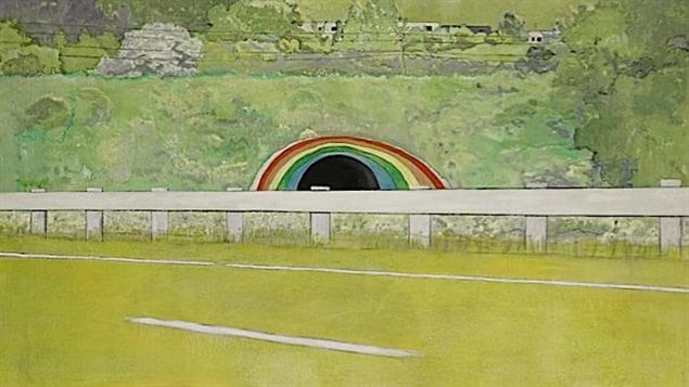 Country-rock (wing-mirror) de Peter Doig
