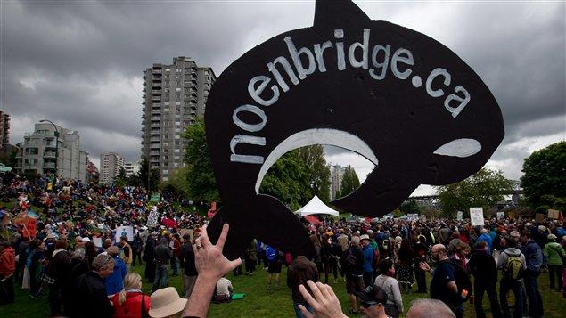 متظاهر يحمل مجسّما على شكل اركة (حوت قاتل) في فانكوفر في 14 أيار مايو الفائت خلال مظاهرة جرت  احتجاجا على إنشاء خط أنابيب النفط نورذرن غيتواي