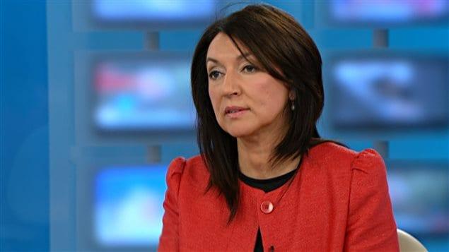 Nathalie Normandeau en entrevista en el programa de televisión 24/60 de Radio Canadá.