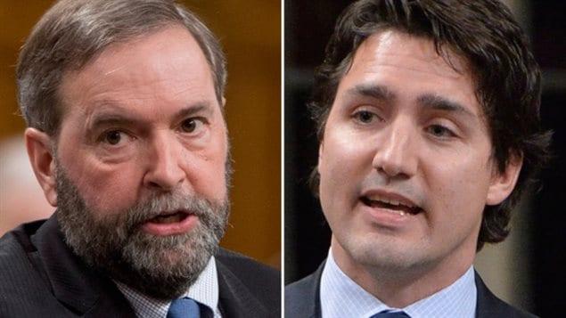 Le chef du NPD, Thomas Mulcair, et le chef des libéraux Justin Trudeau