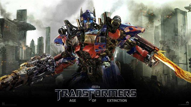 Une affiche du film Transformers 4, avec Optimus Prime