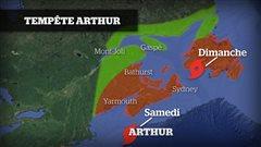 Les zones à risque (ouragan Arthur)