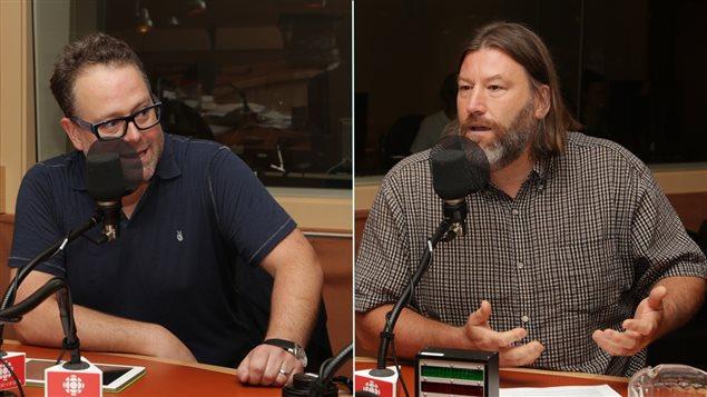 L'homme d'affaires Alexandre Taillefer et Hans Marotte, responsable des services juridiques au Mouvement Action-Chômage de Montréal