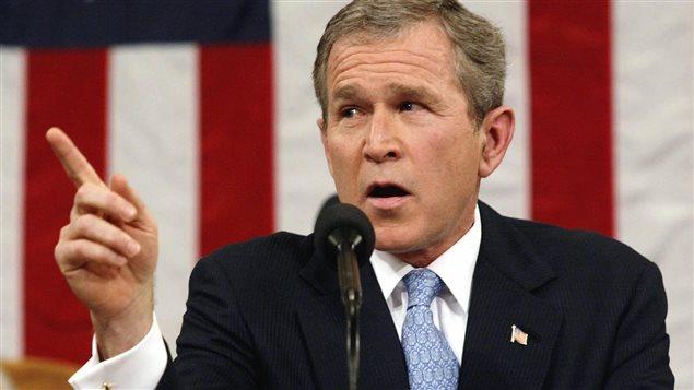 Le président américain George Bush lors du discours sur l'état de l'union, le 29 janvier 2002 à Washington.