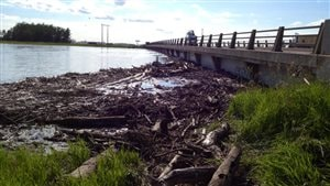 Des débris emportés par le fort courant de la rivière Assiniboine en crue s'amassent près du pont de l'autoroute 1 au Manitoba, le 9 juillet 2014.