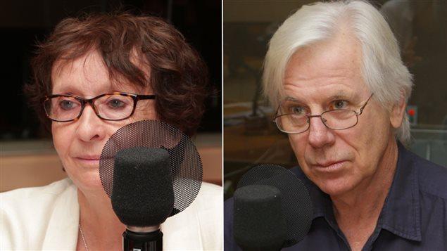 Les journalistes Ariane Émond et Dennis Trudeau