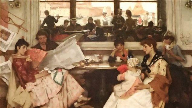 Peinture illustrant l'intérieur d'un café vénitien au 19e siècle