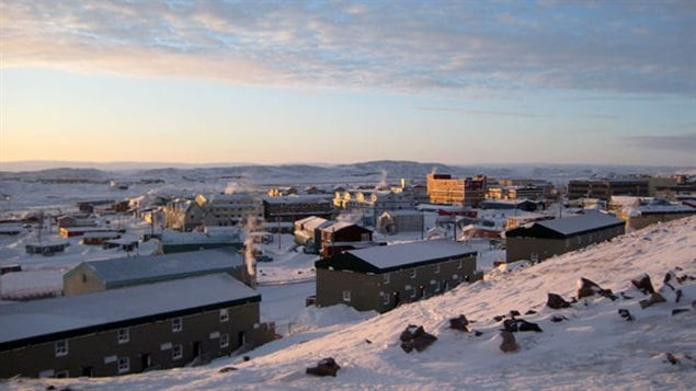 A sky line of low rise buildings is pictured on clear winter day in Iqaluit, the capital city of Canada's eastern Arctic territory of Nunavut.