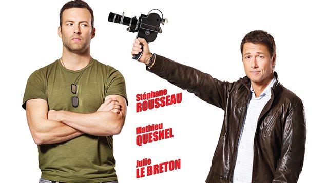 Détail de l'affiche du film Le vrai du faux, avec  Mathieu Quesnel et Stéphane Rousseau