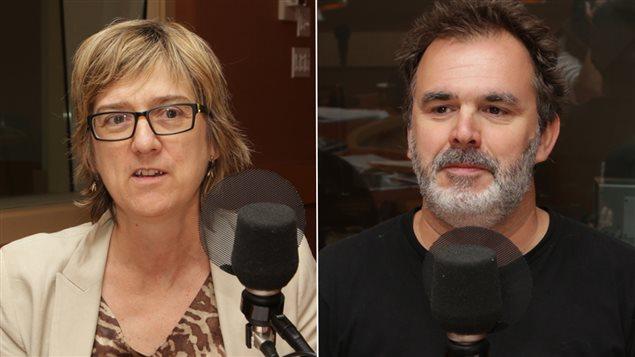 La rédactrice en chef de L'actualité Carole Beaulieu et l'auteur Patrick Senécal