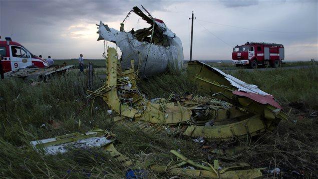 Des camions de pompiers sur les lieux de l'écrasement de l'avion de Malaysia Airlines près du village de Hrabove, en Ukraine.