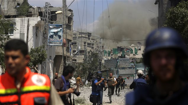 Le 20 juillet 2014, le quartier de Shejaiya à Gaza est bombardé par l'armée israëlienne.