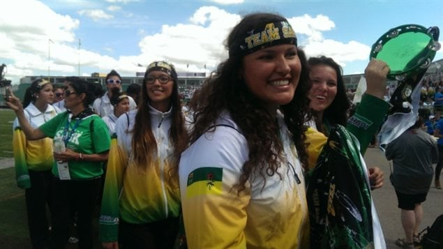 A big cheer erupted as Team Saskatchewan (the home-team) took to the field at the opening ceremonies for the North American Indigenous Games on Sunday.