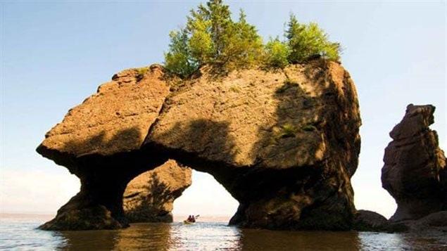 Les rochers Hopewell Rocks, site naturel le long de la baie de Fundy, constituent l'une des merveilles maritimes de la planète, une attraction unique où l'on peut observer les plus hautes marées du monde.