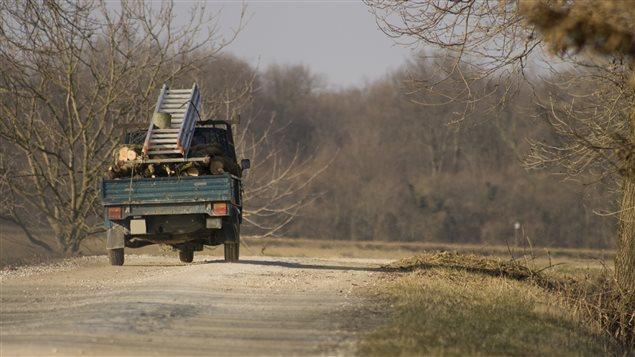 Un camion sur un chemin de campagne