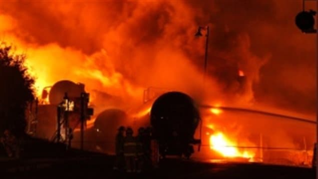 A train loaded with oil was left without enough brakes set in July 2013. It rolled into Lac-Mégantic, Quebec and derailed setting off a massive explosion and fire.