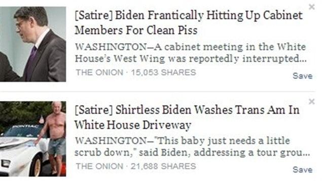 Des exemples de contenus considérés comme satiriques par Facebook.