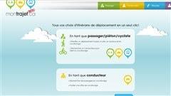 La page d'accueil du site de covoiturage montrajet.ca