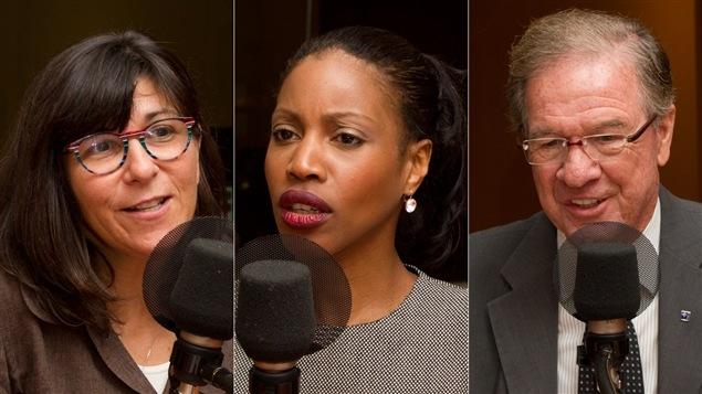 L'entrepreneure, chroniqueuse et ancienne membre de l'ADQ Marie Grégoire, l'ancienne ministre libérale Yolande James et le professeur à l'ENAP et ancien député péquiste Rémy Trudel.