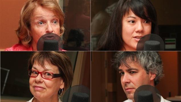 De gauche à droite, de haut en bas : l'animatrice Claire Lamarche, Stéphanie Tsujio, le professeur à la Faculté de droit de l'Université de Montréal et spécialiste de l'adoption, Alain Roy, et la chef de service au Centre jeunesse Montréal, Louise Dumais.