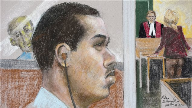 Dessin de cour de Luka Rocco Magnotta, lors du début de la sélection des jurés, le 8 septembre 2014