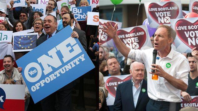 Le premier ministre écossais Alex Salmond et le député en opposition à l'indépendance de l'Écosse Jim Murphy entourés de militants