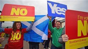 Des manifestants pendant la campagne référendaire sur l'indépendance de l'Écosse